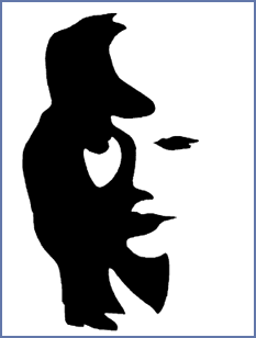 Optical illusion of a sax player or a woman using negative space.