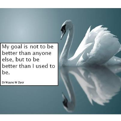 """My goal is not to be better than anyone else, but to be better than I used to be."" - Wayne Dyer"