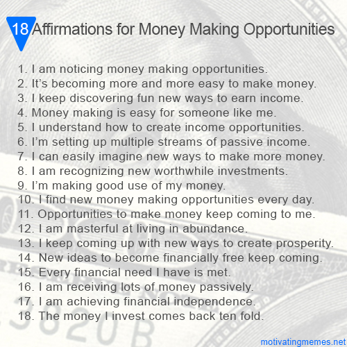 Affirmations for Money Making Opportunities